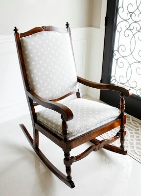 Rocking Chair Makeover, Nursery Rocker, Nursery Rocking Chair in Ikat Polka Dot fabric