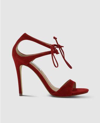 Sandalias de tacón de mujer de Steve Madden rojas en ante
