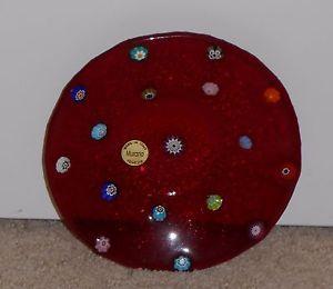 Beautiful-MURANO-Red-Glass-Candy-Dish-with-original-label-Venezia-Italy