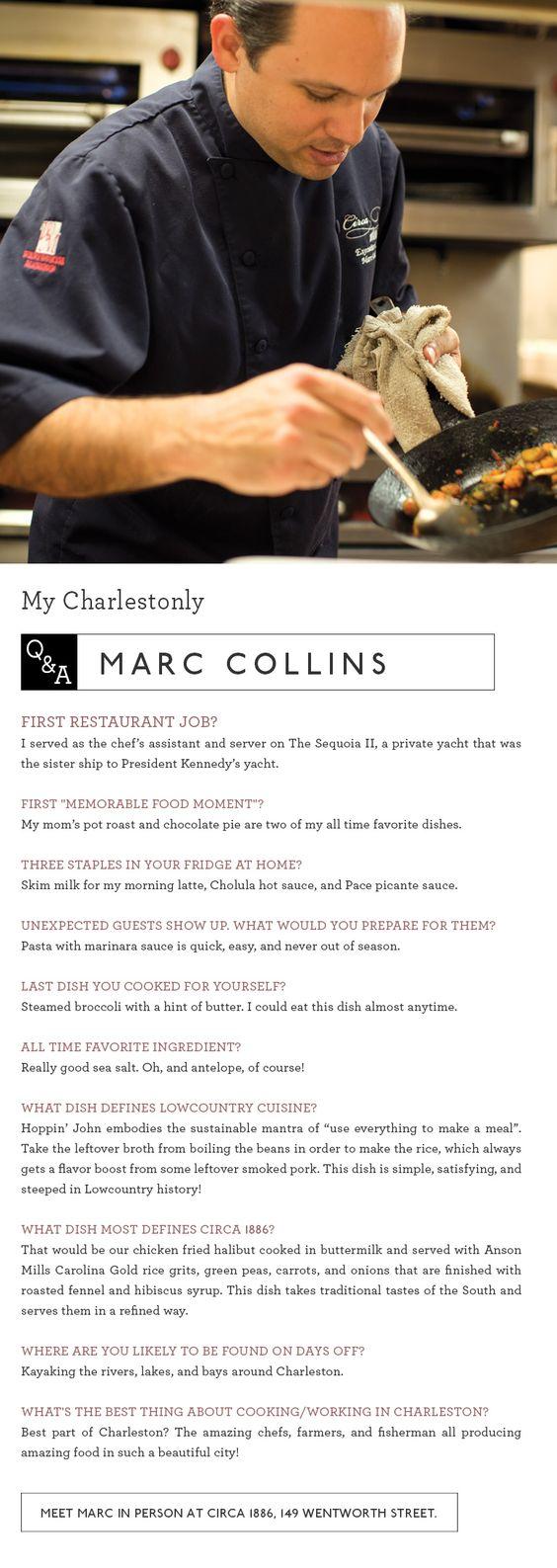 Chef Marc Collins of Circa 1886. www.circa1886.com