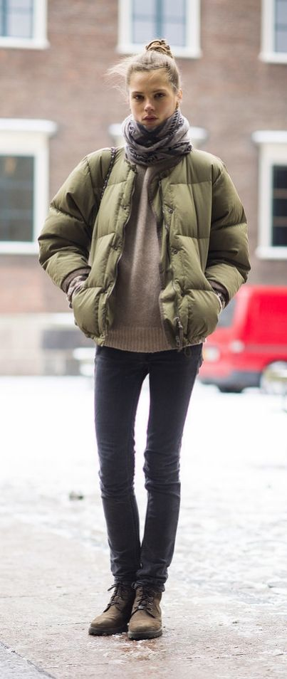Sure your puffer jacket is a Winter necessity, but it also looks pretty cute atop skinny jeans and a cozy sweater.: