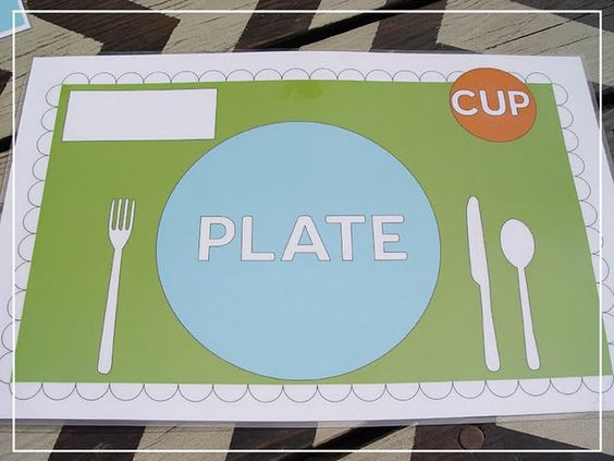 My kids love homemade laminated placemats even though they're pretty small on a sheet of 8 1/2 x 11.