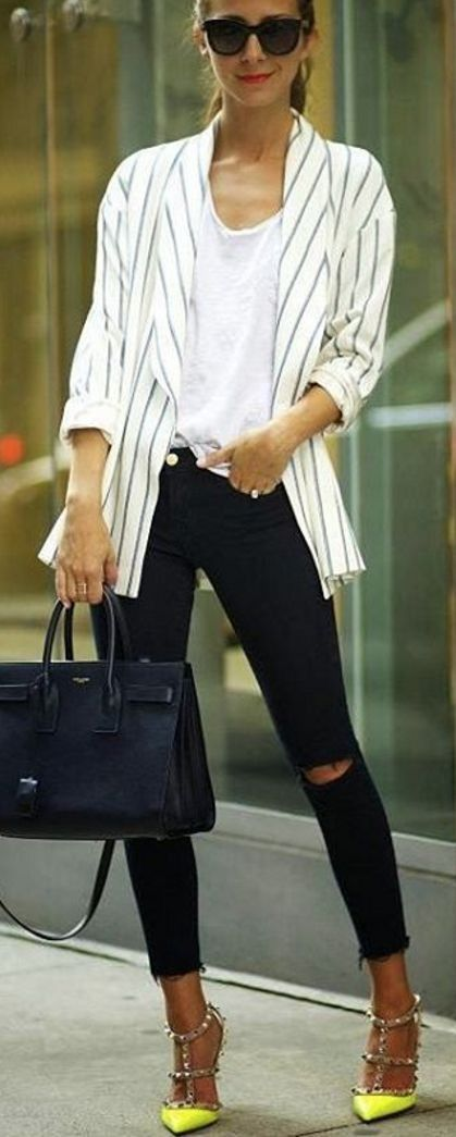 #bestof #instagram #turninghead #spring #outfitideas | Striped Blazer + White Tee + Ripped Denim + Neon Pumps | Something Navy