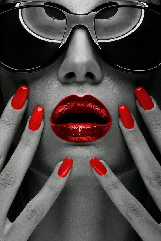 Red inspiration #red #makeup #beauty #style #fashion #metallic #lips #nails
