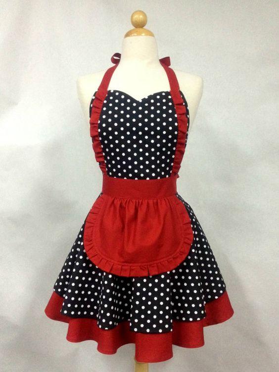 Tablier Maid Français Polka Dot avec jupe rouge Double par Boojiboo: