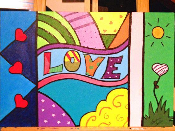Love. Minha primeira tela. Acrílico sobre tela.