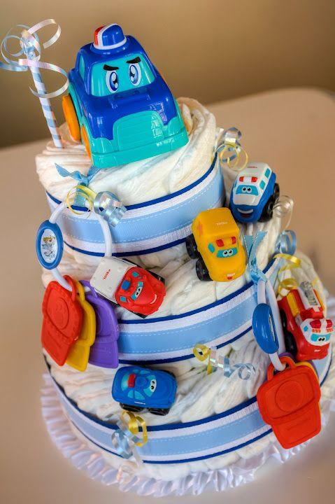 car themed baby shower diaper cake