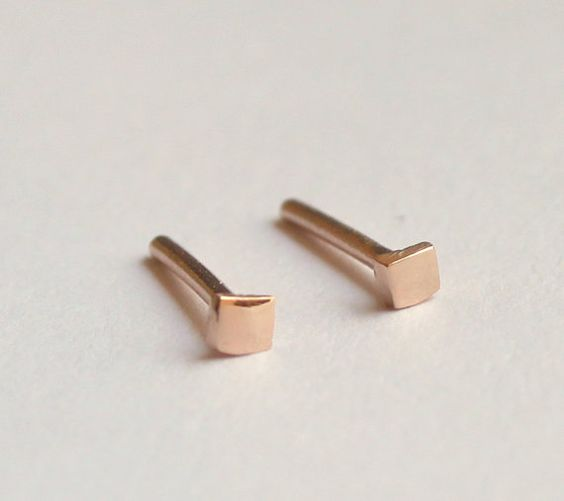 This gorgeous and classic tiny simple square earrings was handmade by me. When I was create this lovely earrings, I use goldsmith techniques. This