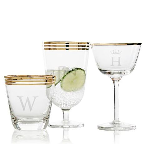 gold rimmed personalized cocktail glasses