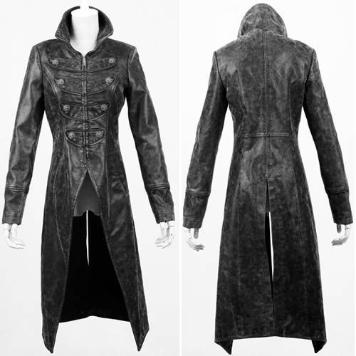 Black Leather Military Gothic Style Long Jackets Trench Coats for