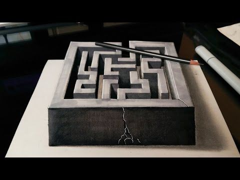 Drawing A 3d Maze Optical Illusion Youtube Illusion Drawings