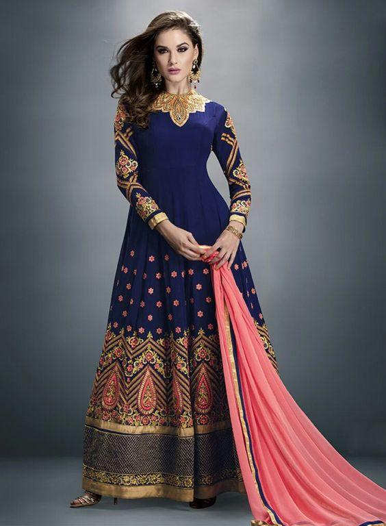 Blue latest abaya style Indian anarkali frock in georgette K15332