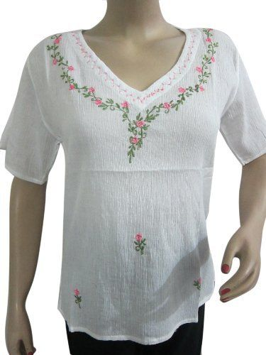 Boho Cotton Blouse for Women, Floral Embroidered White Peasant Tops Small Size Mogul Interior,http://www.amazon.com/dp/B00CEVWZJW/ref=cm_sw_r_pi_dp_VY.Brb98CE634ABD