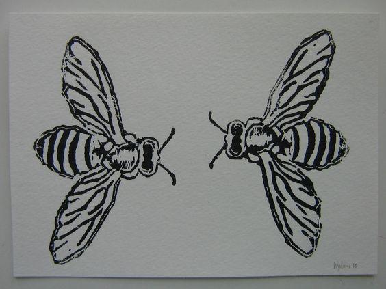 Honey bees linoleum block print