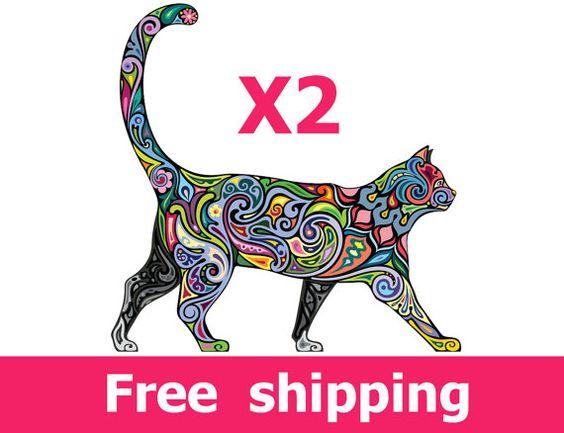 2 chats abstraits colorés stickers muraux Chaque chat taille 14 * 14 / 20 * 21 pouces/28 * 31 pouces  Cliquez ici et regarder tous les décalques de mur abstraite : https://www.etsy.com/il-en/shop/NurseryRoomWallArt?section_id=16085934  === Décoration murale haute qualité pour un coût faible === Afin de rendre lautocollant real, nous limprimer en haute résolution, utilisation de très haute qualité allemande vinyle mat et éco solvant. Le sticker mural est UV se fanent résistant, durable et…