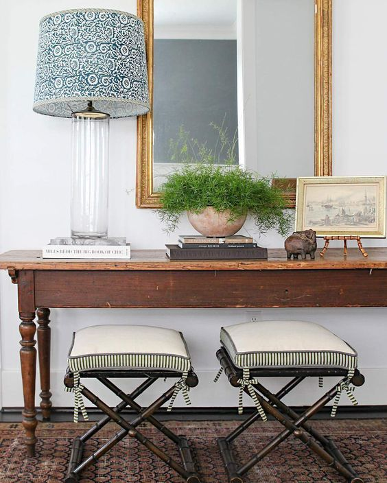 entryway, foyer, mirror, contemporary & traditional, greenery, seating, art, lucite lamp base, via mela and roam