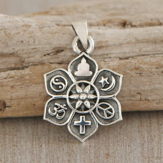 #Coexist   http://www.buddhagroove.com/coexist-sterling-silver-lotus-pendant/