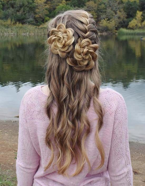 Half Up French Rosette Braided Hairstyle Medium Hair Styles Braided Hairstyles Womens Hairstyles