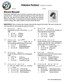 Worksheets Domain Range Worksheet person puzzle domain and range helen keller worksheet algebra ws