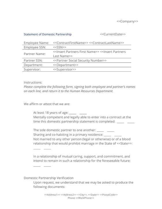 Statement Of Domestic Partnership Form  Use The Employee