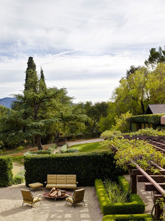 Grounds of a historic Craftsman house in Ojai, design by Commune. Via desire to inspire.