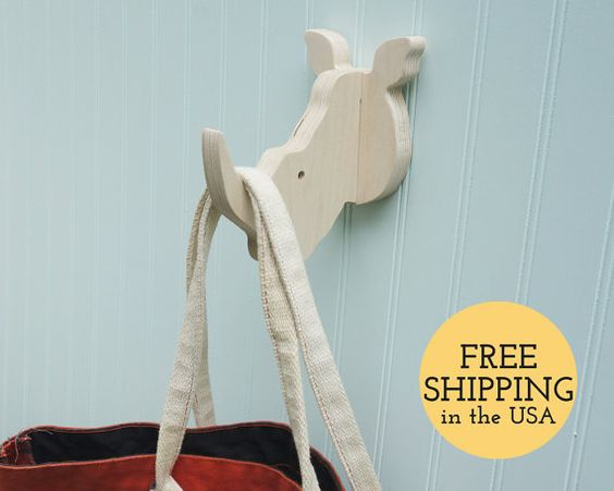 Wall hooks - Rhino wall hook: playful wooden rhino head wall hanger for coats, bags, hats, & backpacks - great safari nursery, rhino gift