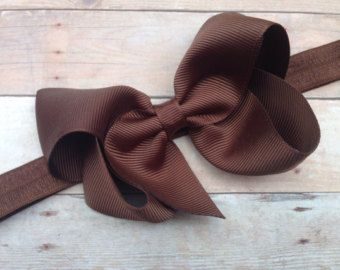 Brown headband with 4 inch brown bow brown by BrownEyedBowtique
