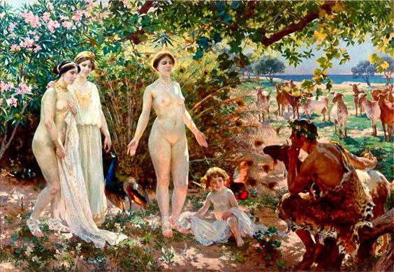 Óleo en lienzo de Enrique Simonet: El Juicio de Paris (1904). Paris sujeta la manzana dorada en la mano derecha mientras observa meditativo a las diosas