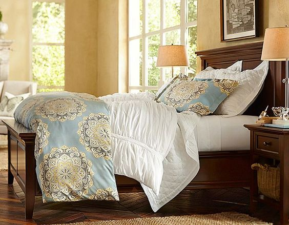 Potterybarn Love These Colors Would Look Great With Gray Walls Guest Bedroom Queen Bed