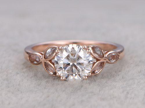 6 5mm Round Moissanite Engagement Marquise Topaz Wedding Ring 14k