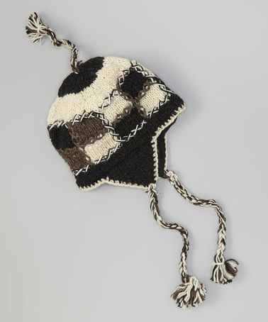 Loving this Black Patchwork Wool Earflap Beanie on #zulily! #zulilyfinds