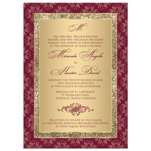 Burgundy Gold Damask Personalised Wedding Day and//or Evening Invitations P