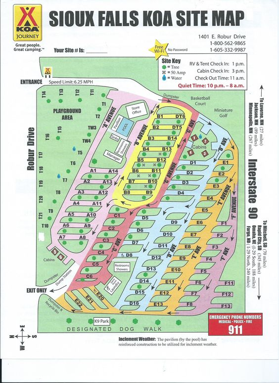 Campground Site Map Souix Falls Koa – South Dakota Travel Information Map