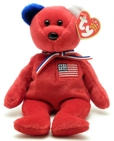 America (red, blue right ear) - bear - Ty Beanie Babies