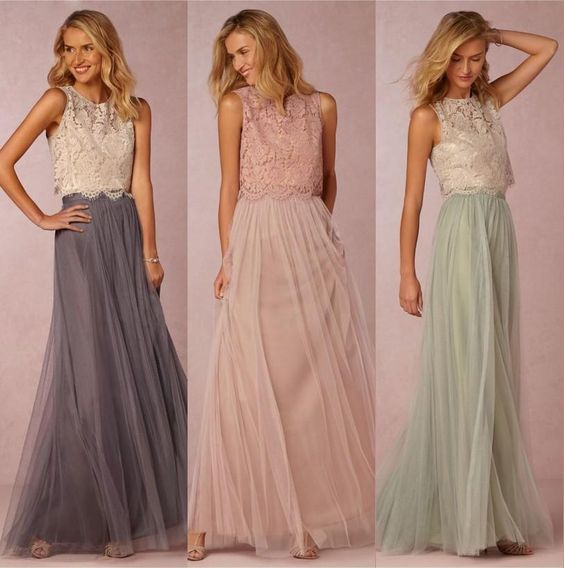 2016 Vintage Two Pieces Crop Top Bridesmaid Dresses Tulle Ruched Floor Length Blush Mint Grey Bridesmaid Gowns Lace Wedding Party Dress