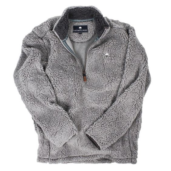 Quarter Zip Sherpa Pullover in Alloy Grey by The Southern Shirt Co.