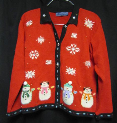 Karen-Scott-Hand-Embroidered-Red-Christmas-Sweater-Snowmen-Medium-free-shipping