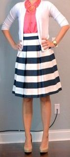 White cardigan, pink blouse, navy & white wide stripe skirt, beige ...