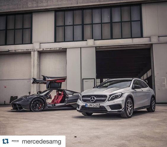 Weekdays and the weekender? #Repost @mercedesamg with @repostapp.  Photographer @gfwilliams discovers many shades of AMG: From the GLA 45 AMG's 355 horsepower 'M133' engine to the @PaganiAutomobili Huayra's Mercedes-AMG 'M158' powerplant making over 700hp! [GLA 45 AMG Combined fuel consumption: 75 l/100 km | CO2 emission: 175 g/km] #MercedesBenz #MercedesAMG #Mercedes #Benz #AMG #GLA #GLA45AMG #Pagani #Huayra #M133 #M158 #BeyondAdrenaline