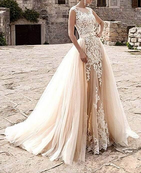 15 Detachable Train Wedding Dresses Under 200 Dollars For Brides Who Want A Removable Train Chiclypoised Wedding Dresses Wedding Dress Champagne Lace Bridal Gown