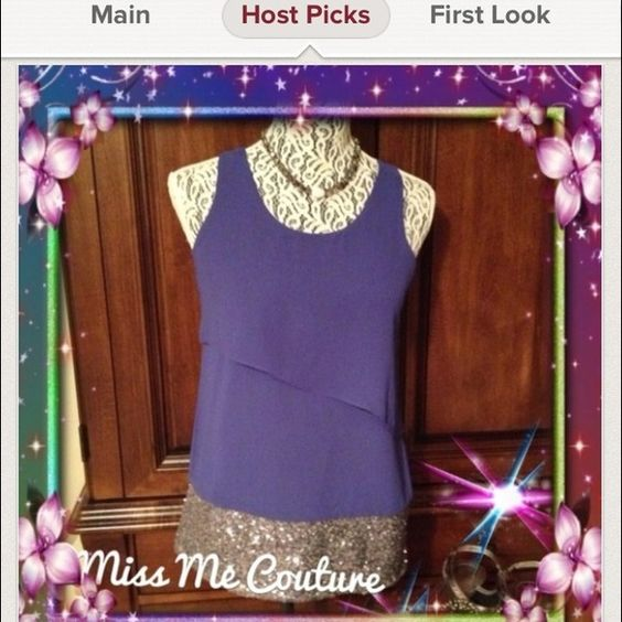 Host Pick simple easy styleMiss Me Couture Top Miss Me Couture blue top. Very elegant sheer layer of material. Very flowy. Silver sequins around the bottom. Miss Me Tops