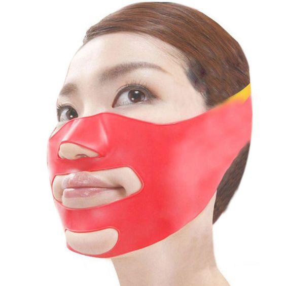 New 3D Face Slimming Shaping Cheek Lift Up Sleeping Belt Strap Scalp Face Shaper…: