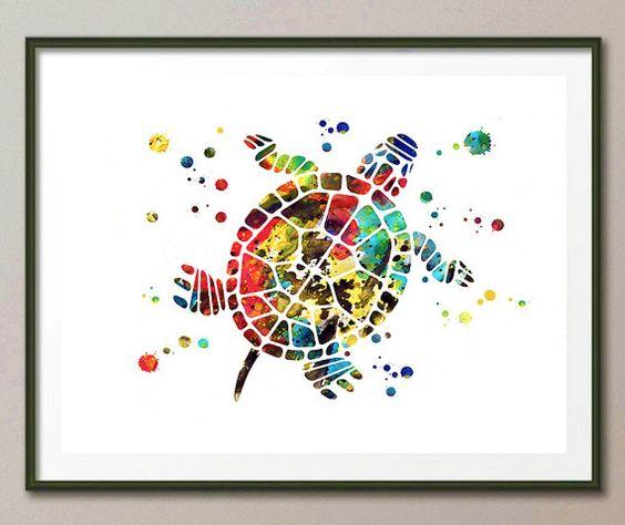 Turtle Art Print Colorful turtle watercolor print by MimiPrints
