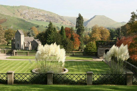 Thorpe Cloud and Bunster Hill, from Manifold Tea Rooms, Ilam Park, Ilam, Peak District, England