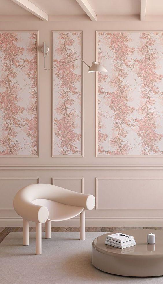 WALLPAPER : PRAIRIE FLEUR // BLUSH - drop it MODERN - Modern and contemporary interior designed wallpaper for the studio and home. | #wallpaper #InteriorDesign #HomeDecor #bedroom #bathroom #kitchen #LivingRoom #designer #luxury #traditional