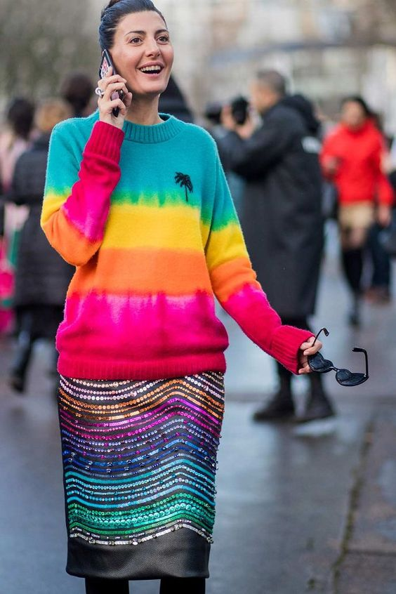 Giovanna Engelbert in a tie-dye sweater