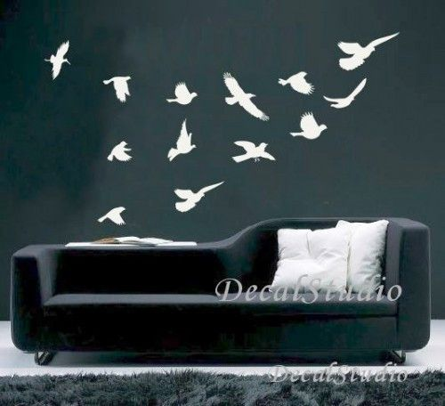 Flying Birds Home Decal Art Graphic Wall Sticker Room Decor White Wall Stickers Room Bird Wall Decals Birds Flying