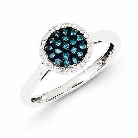 Sterling Silver Blue & White Diamond Round Ring , - Sparkle & Jade