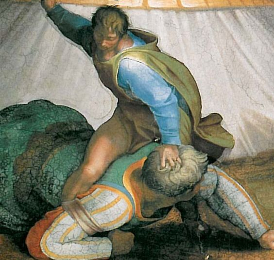 Detalle. David y Goliat.  Miguel Angel.  1508-1512.