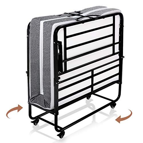 Smile Back Foldable Folding Bed With Mattress Rollaway Guest Bed